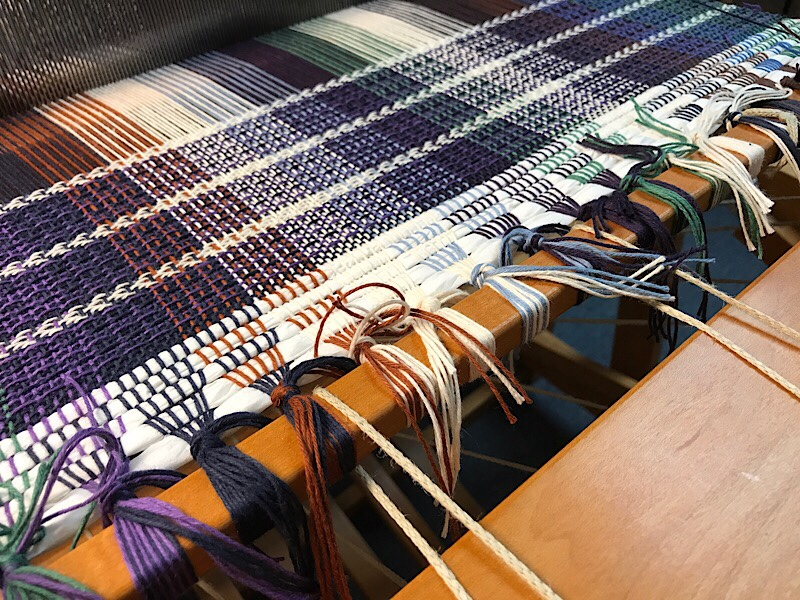 Weaving hand towels on the floor loom